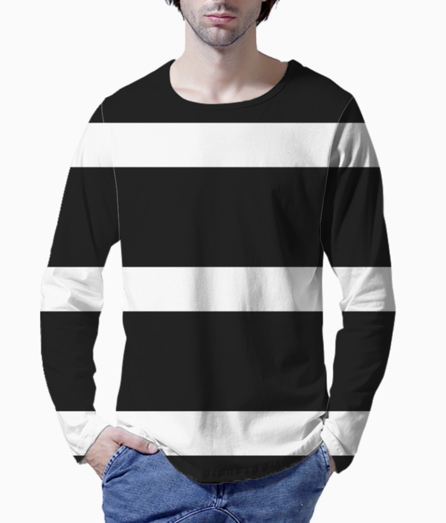 Black  and white stripe henley front