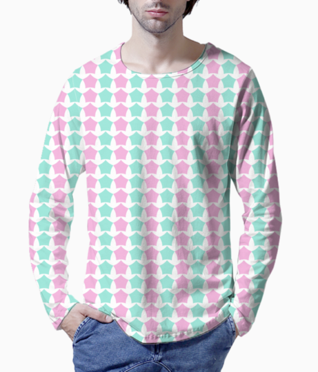 Pink   blue star seamless pattern background henley front