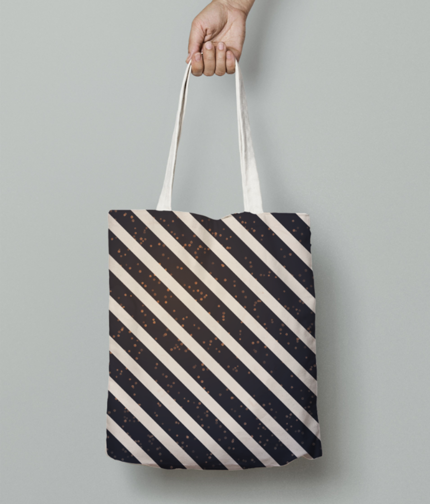 Slanting stripes tote bag front