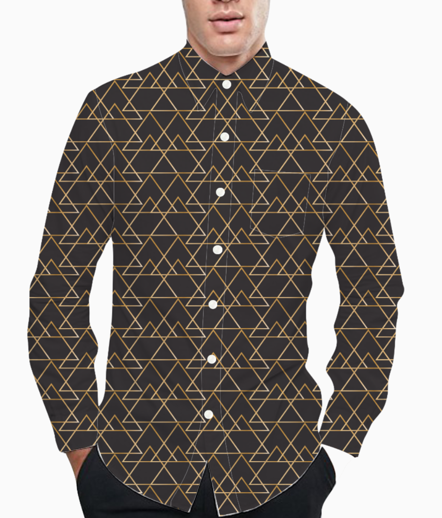 Black  elegant pattern basic shirt front