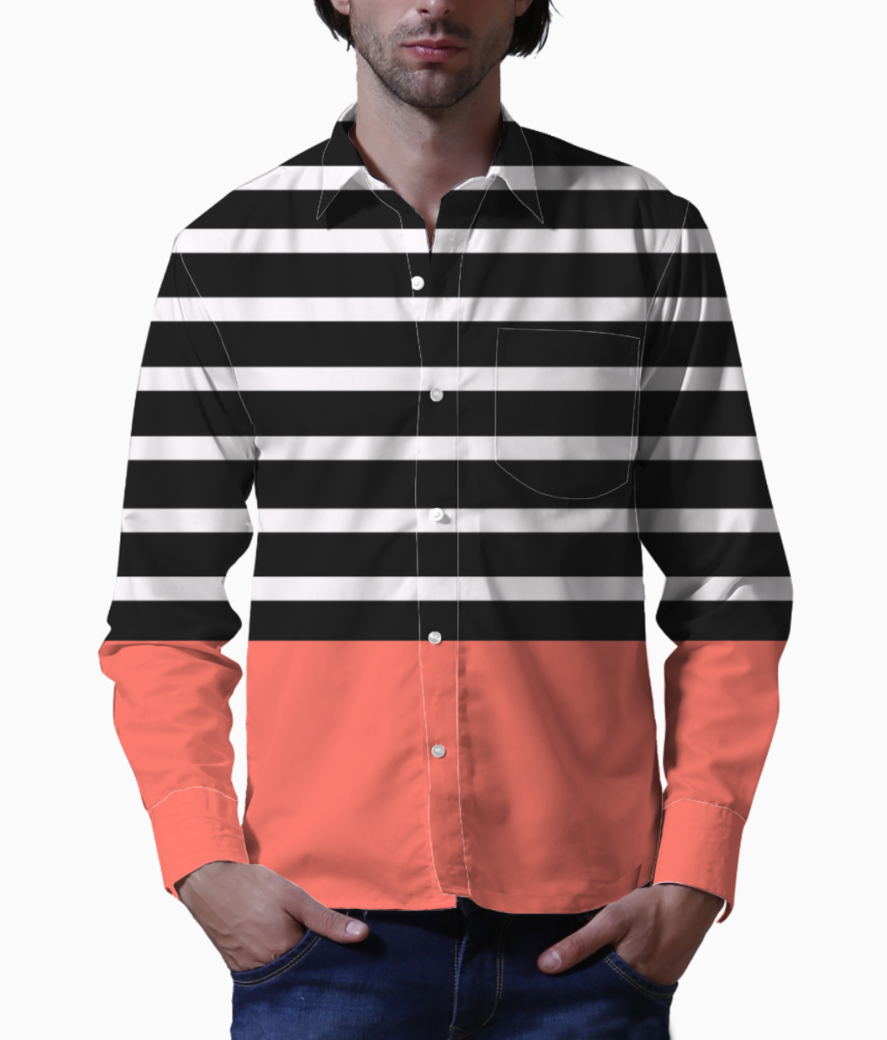 Black   white stripes with living coral patch basic shirt front