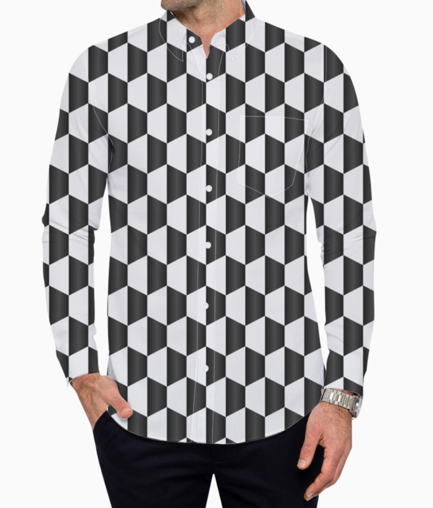 Blacky cubes basic shirt front