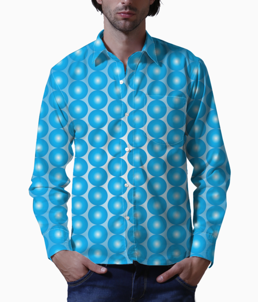 Blue pearl pattern basic shirt front