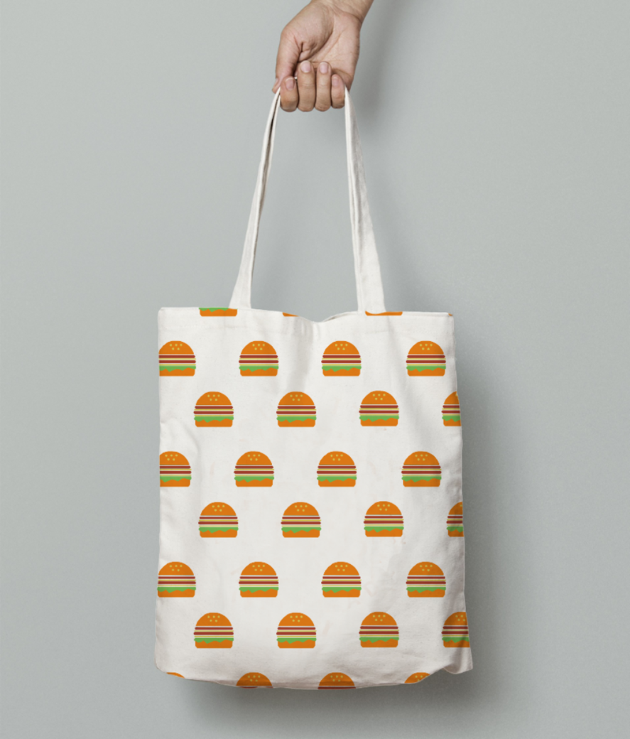 Burger tote bag front