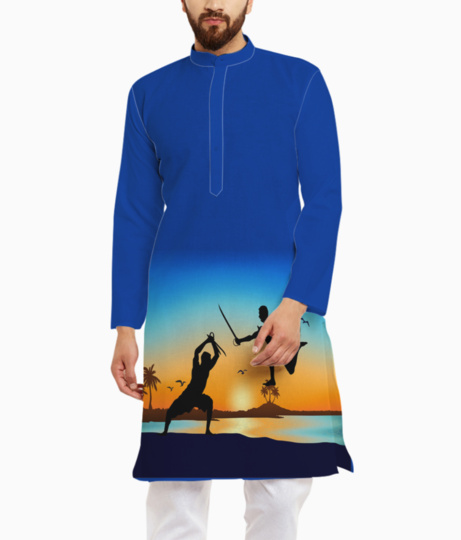 Kerala sword fight beach kurta front