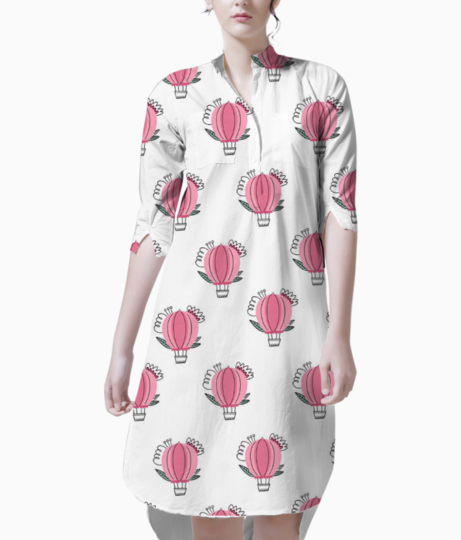 Pink hot air balloon with flowers seamless pattern doodle style 67959 676 kurti front