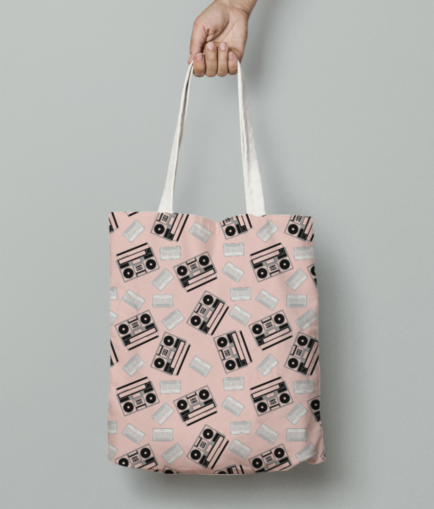 Retro tape tote bag front