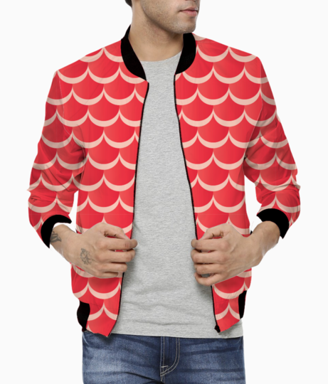 Red mermaid pattern bomber front