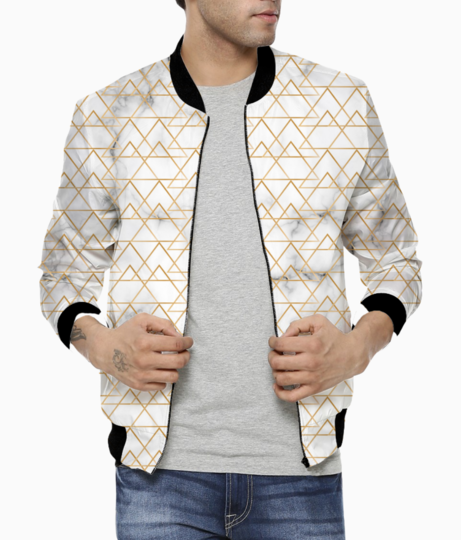 Traditional islamic diamond ethnic arabesque bomber front