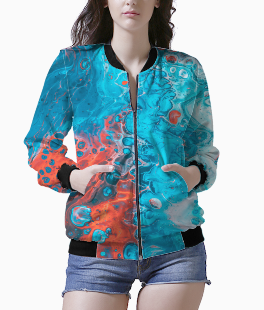 Blue red waves bomber front