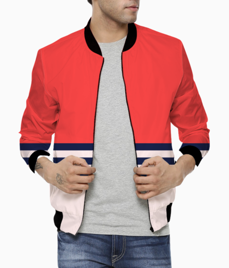 Red retro stripes bomber front