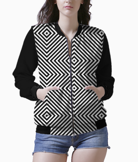 Abstract geo diagonal lines bomber front