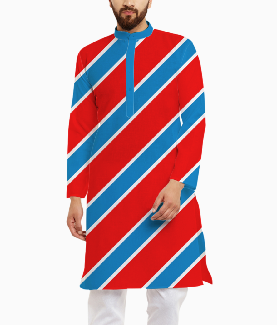 Red and blue stripes kurta front