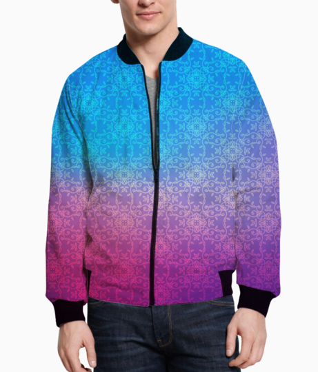 Blue pink shade bomber front