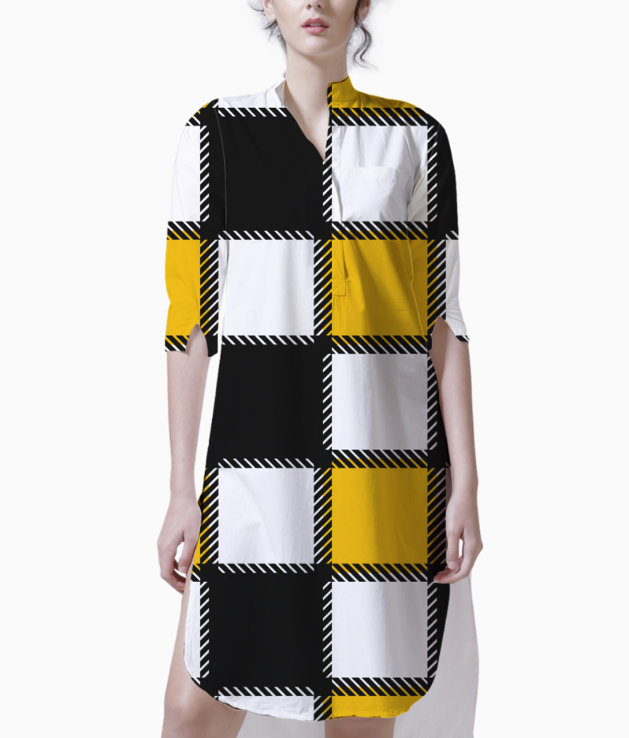 Yellow monochrome checks kurti front