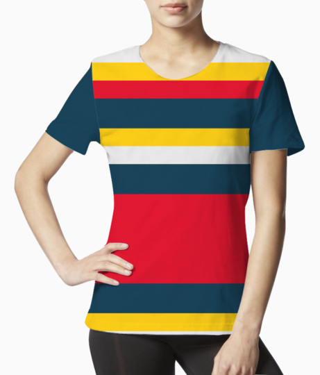 Blue red yellow stripes tee front