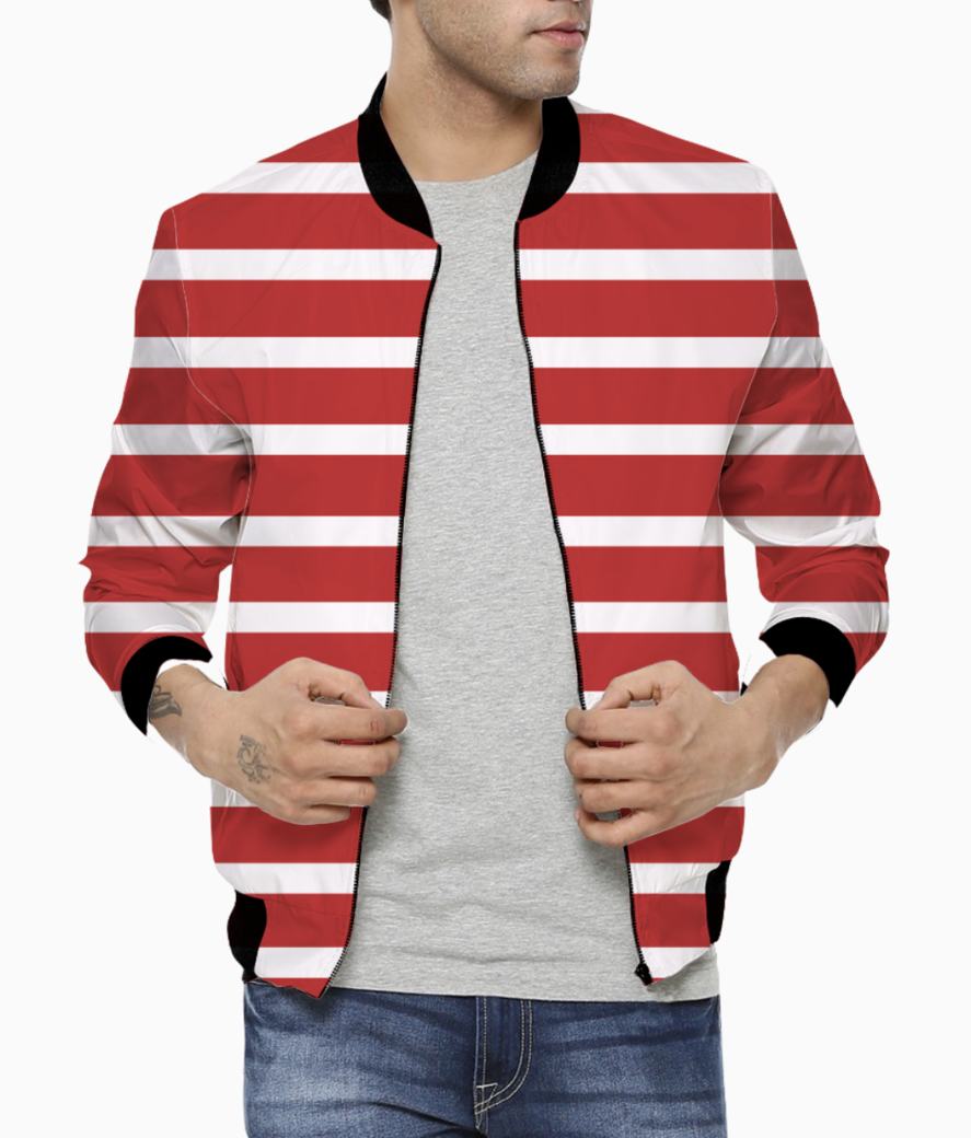 Fire brick stripes bomber front