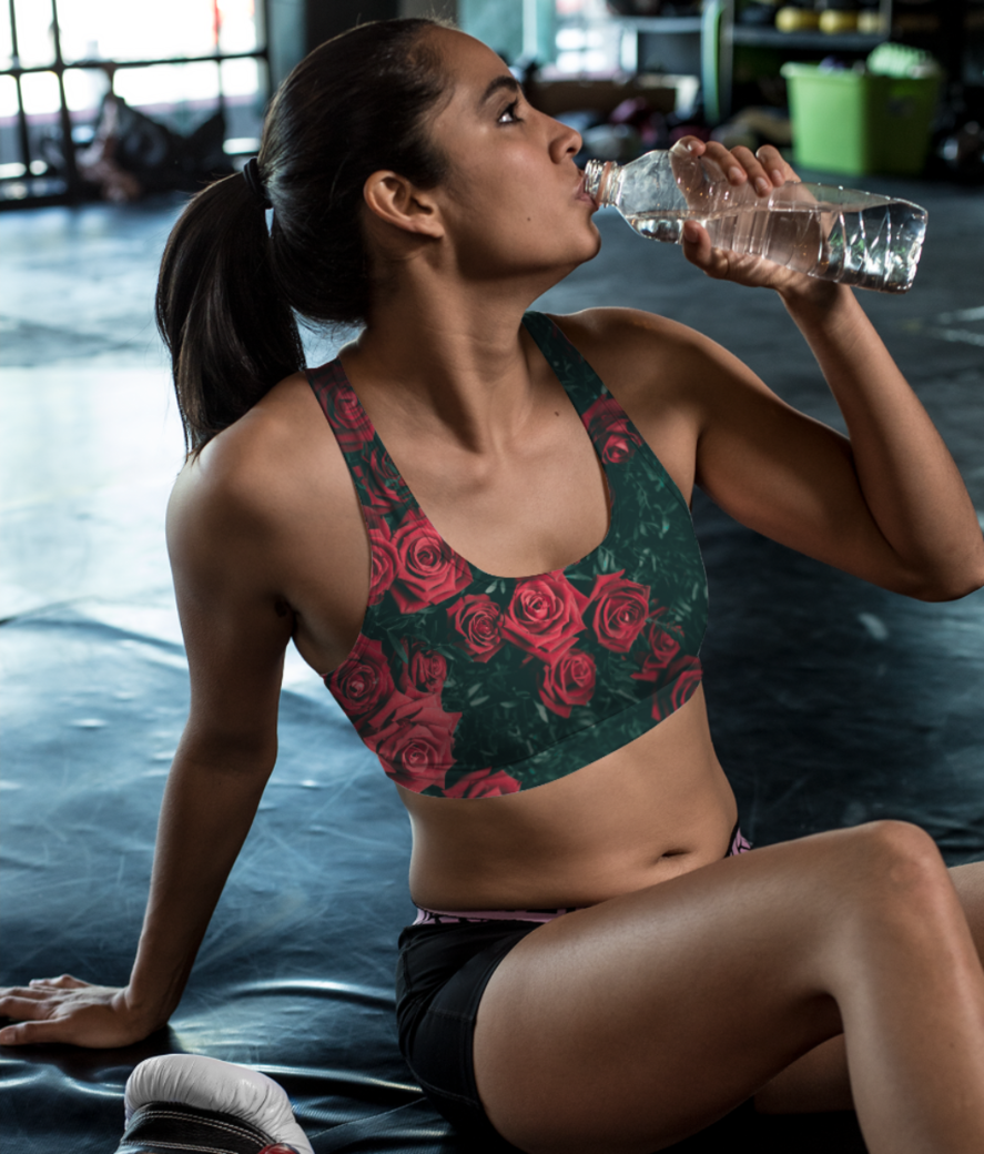 Rosy rose sports bra front