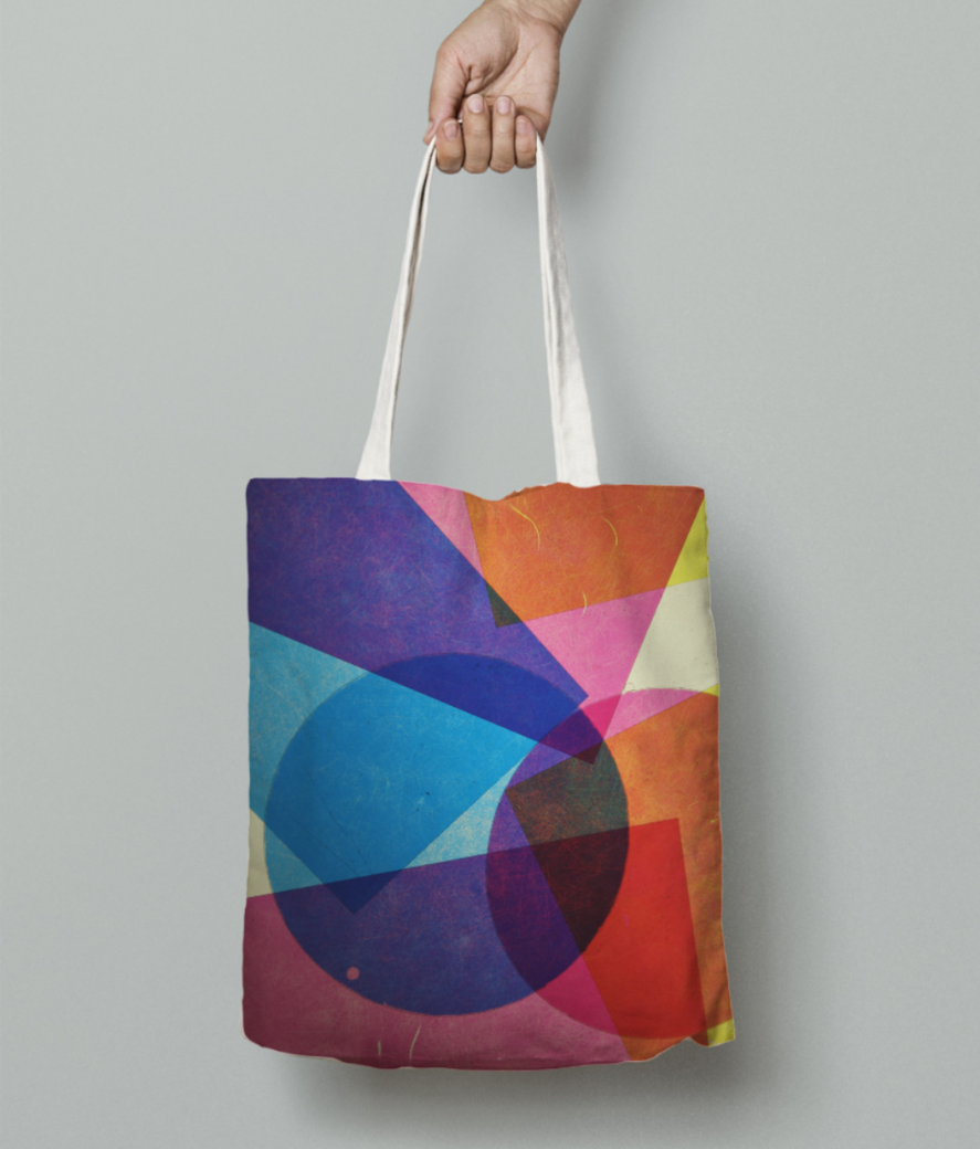 Colour shapes tote bag front