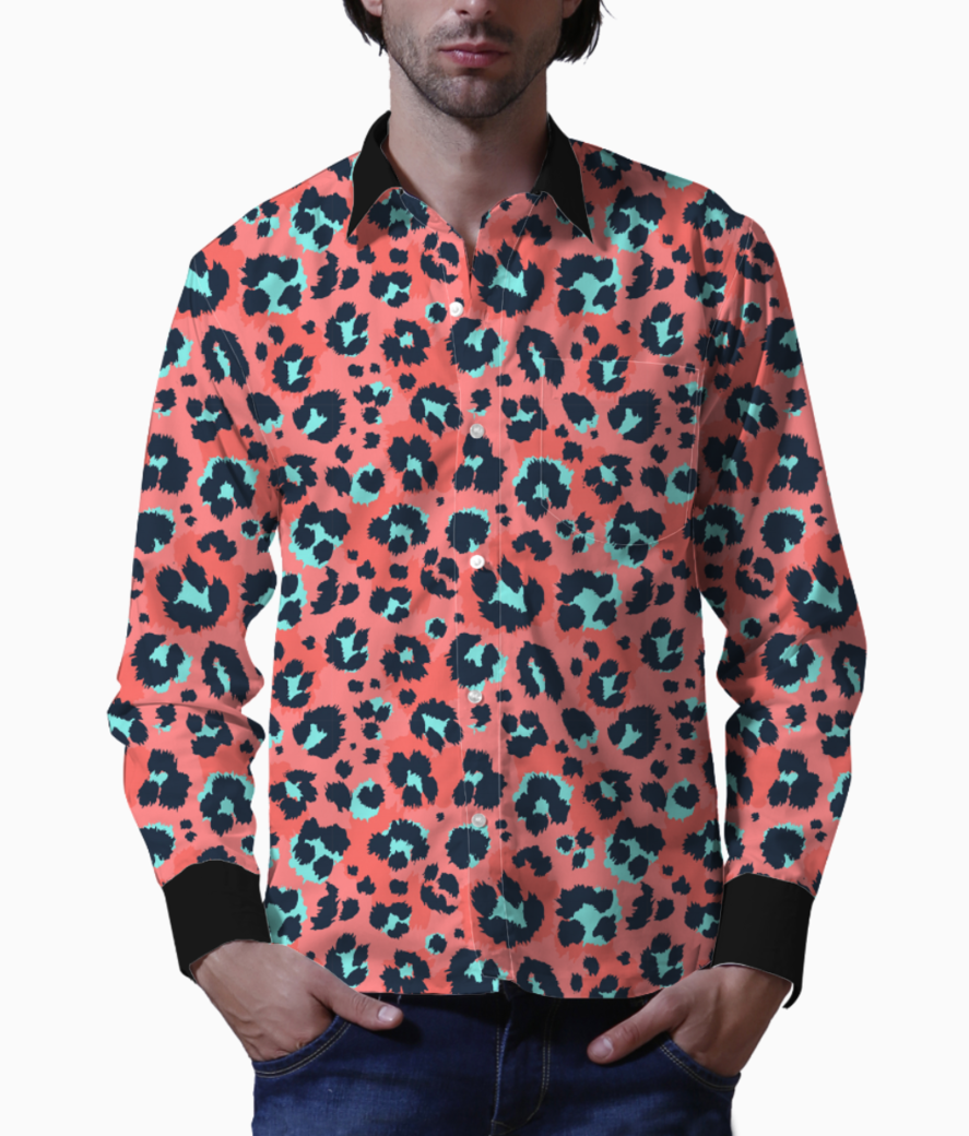 Leopard pattern design funny drawing seamless pattern 10083 653 basic shirt front