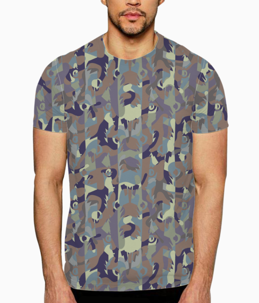 Camouflaged bamboo forest t shirt front