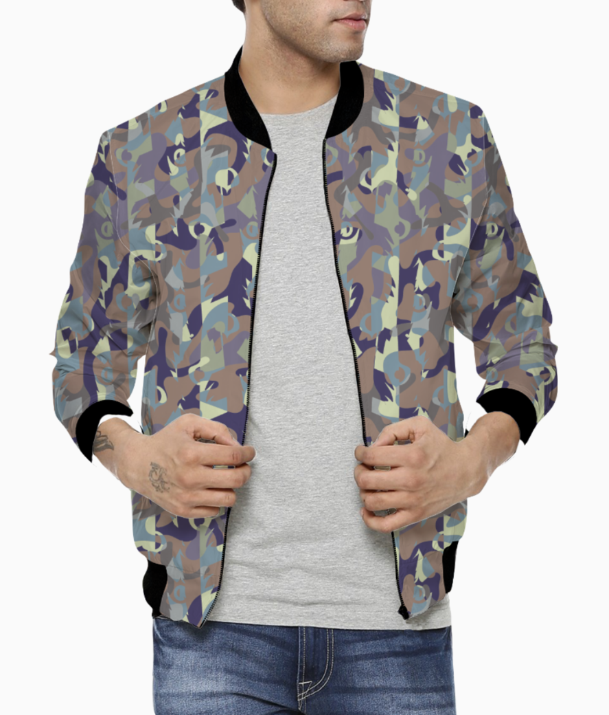 Camouflaged bamboo forest bomber front