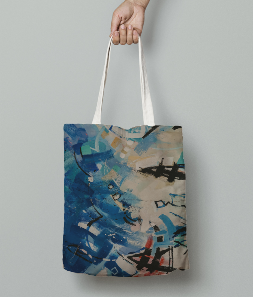 Blue dancing moves tote bag front