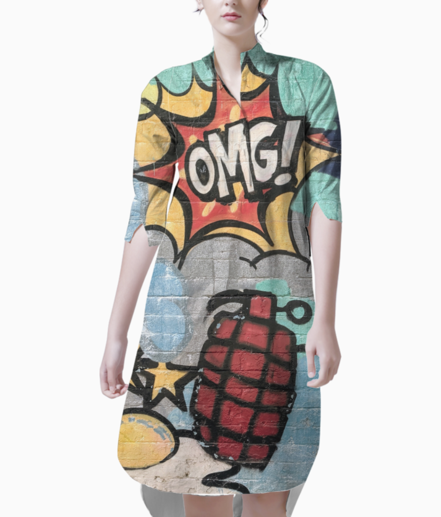 Cartoon explosion kurti front
