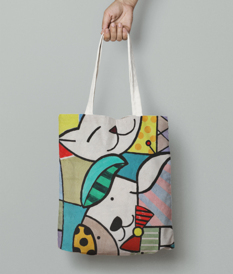 Animal lovers tote bag front