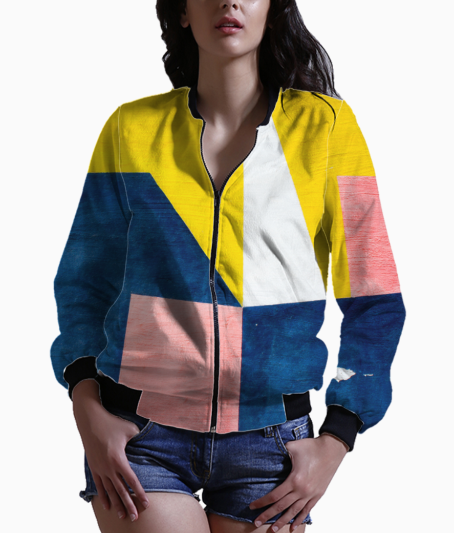 Blue geometry bomber front