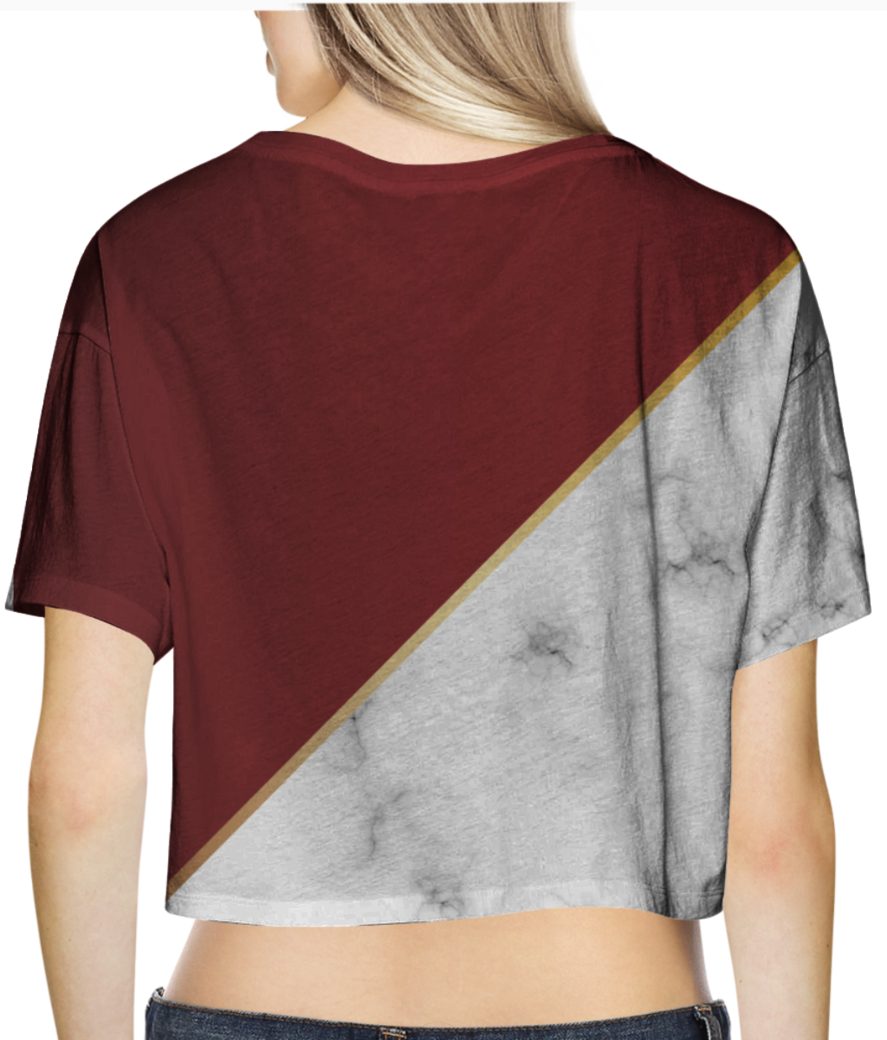 Abstract modern garnet marble crop top back