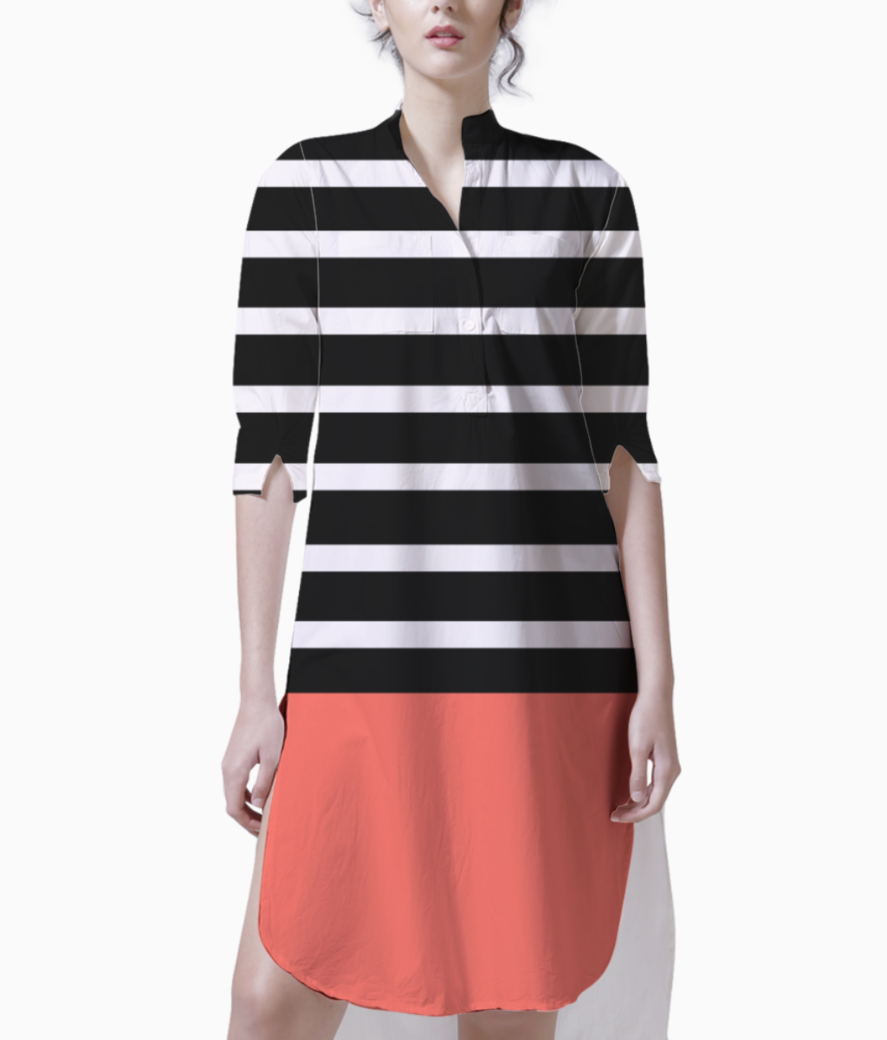 Black   white stripes with living coral patch kurti front