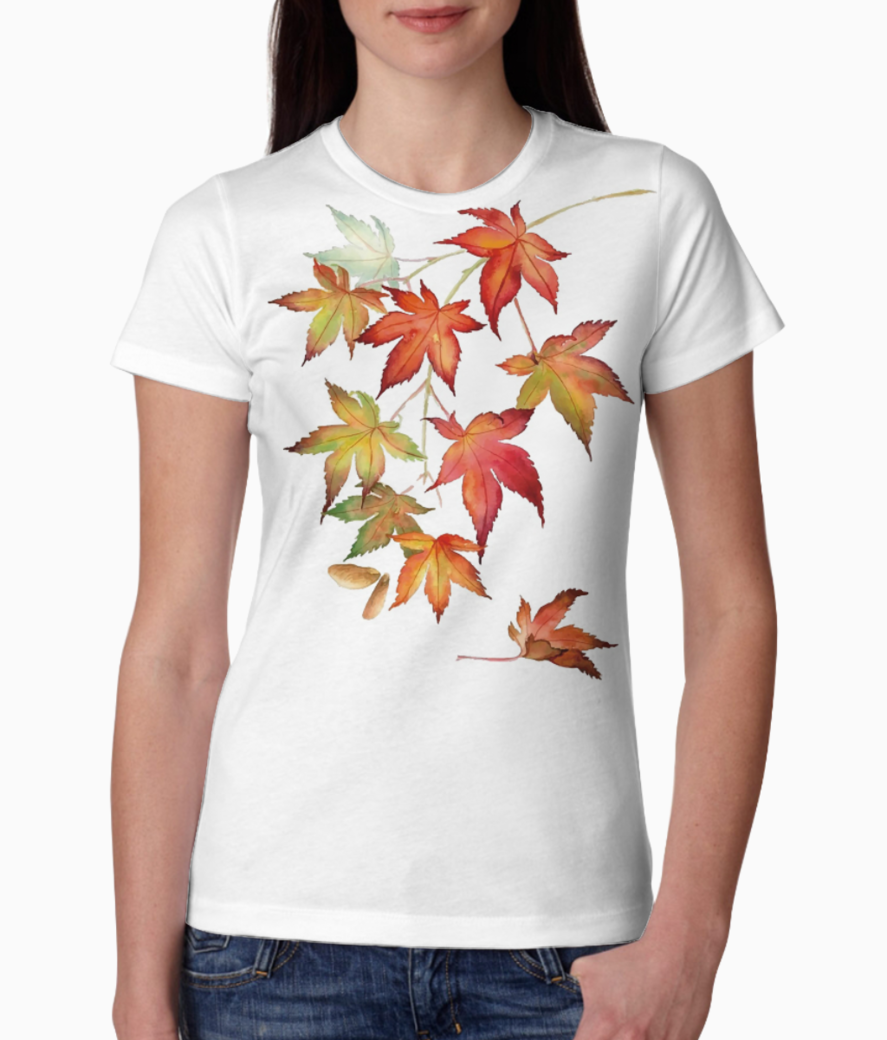 118 1184134 japanese maple leaves wall sticker japanese maple watercolor tee front