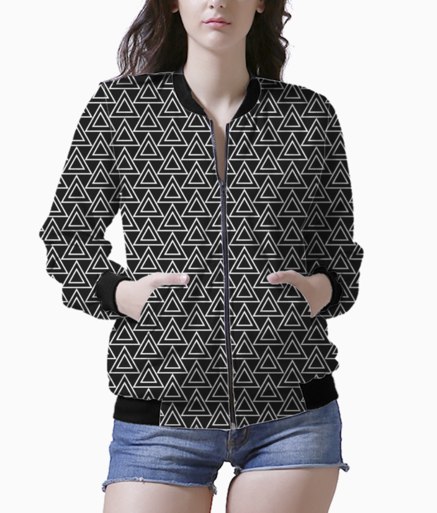 Double triangle black tribal art bomber front