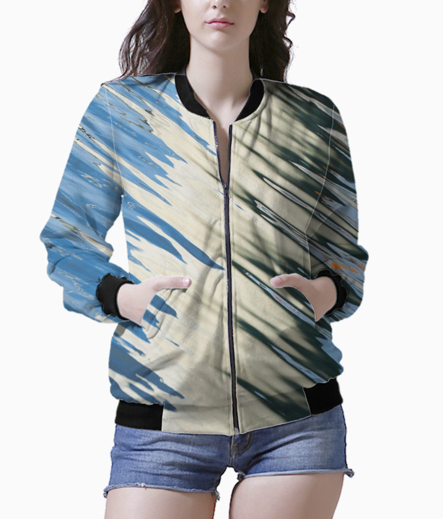 Hashed blue white bomber front