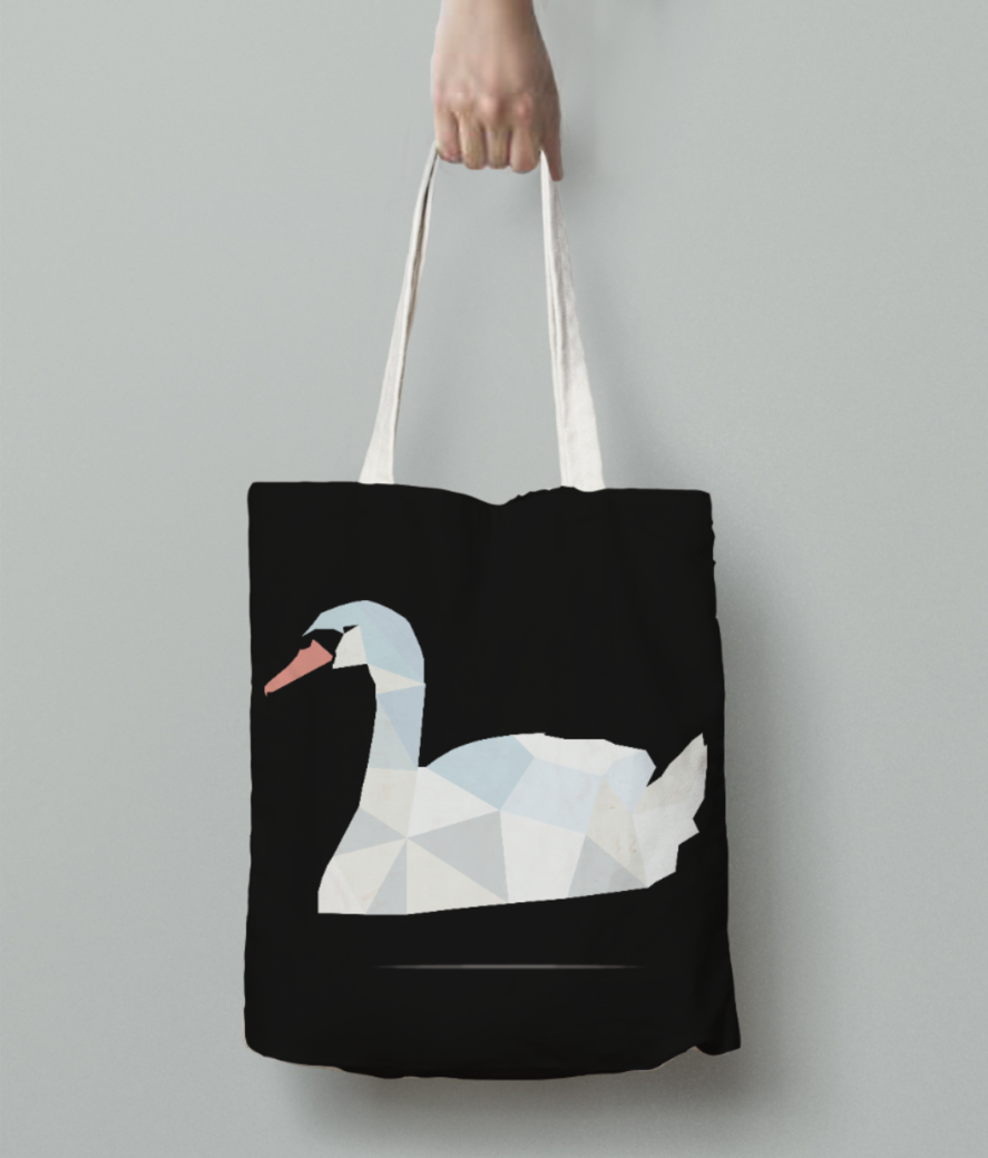 Swan origami art with shadow tote bag back