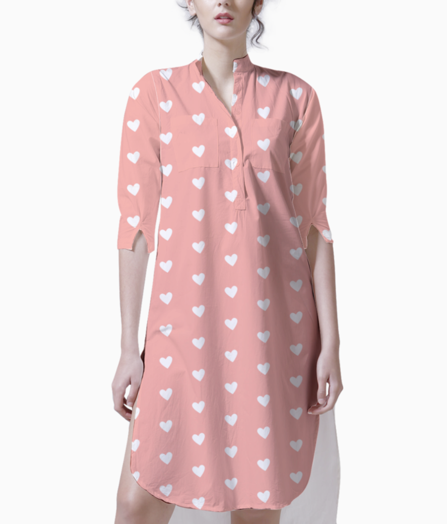 Apricot blush heart shape pattern kurti front
