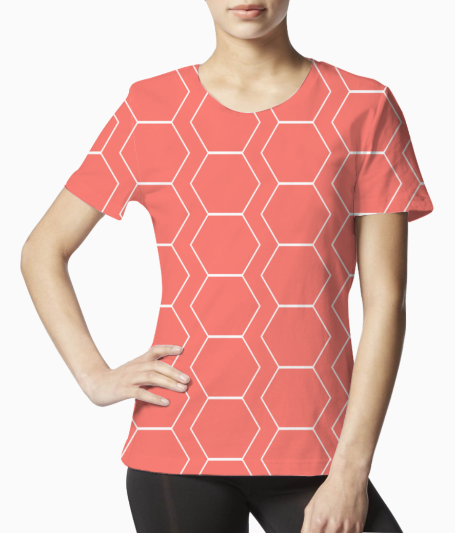 White hexagon living coral pattern tee front
