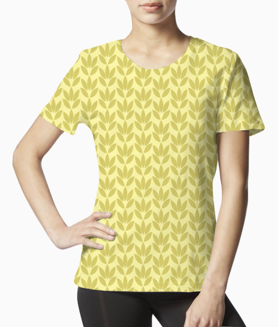 Yellow color flower seamless pattern tee front