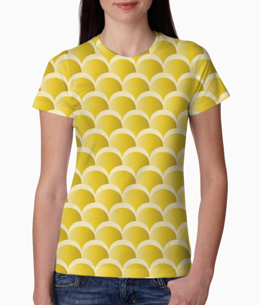 Yellow mermaid pattern tee front