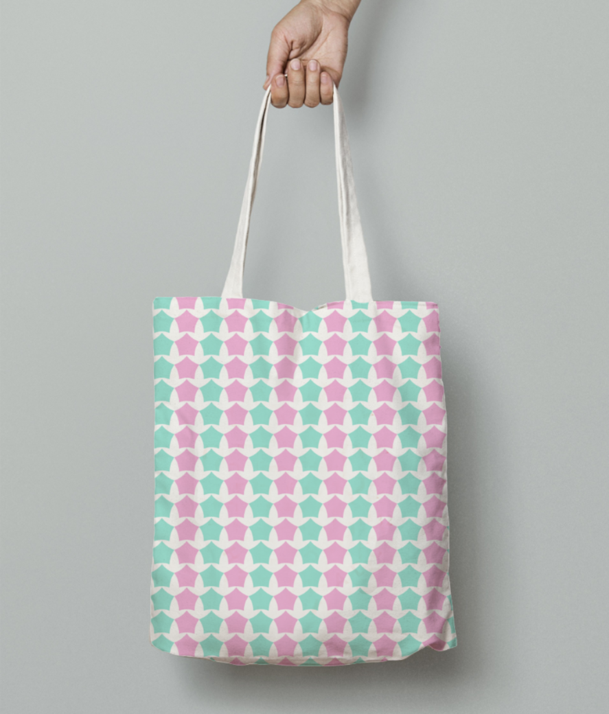 Pink   blue star seamless pattern tote bag front