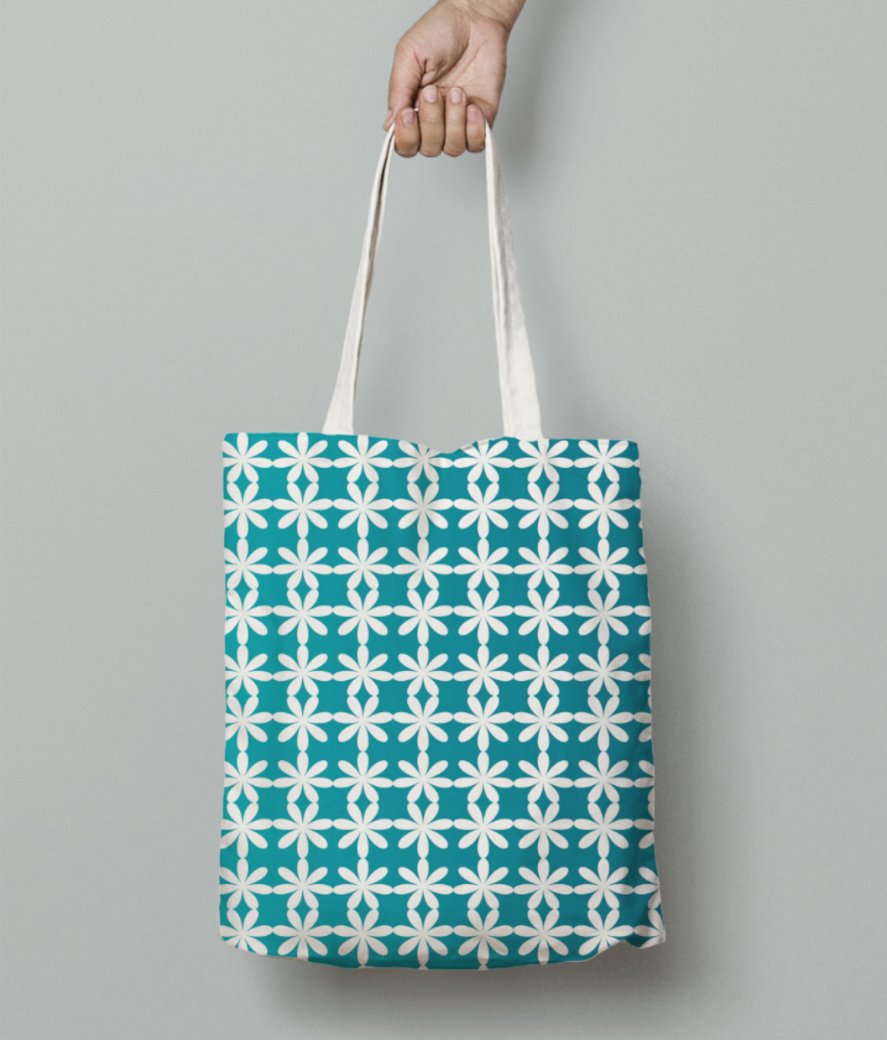 Floral gradient seamless pattern tote bag front
