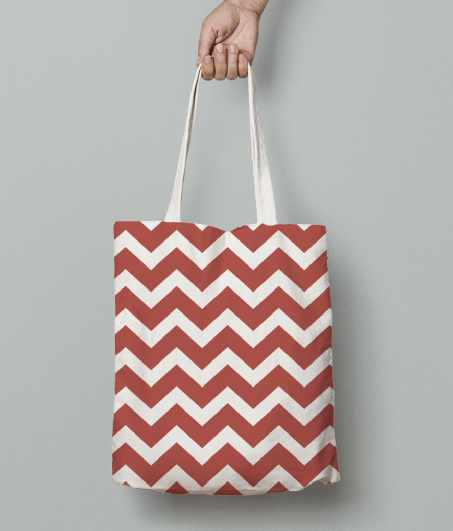 Tuscan red chevron tote bag front
