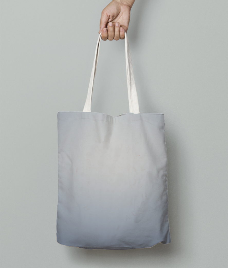 White gradient tote bag front