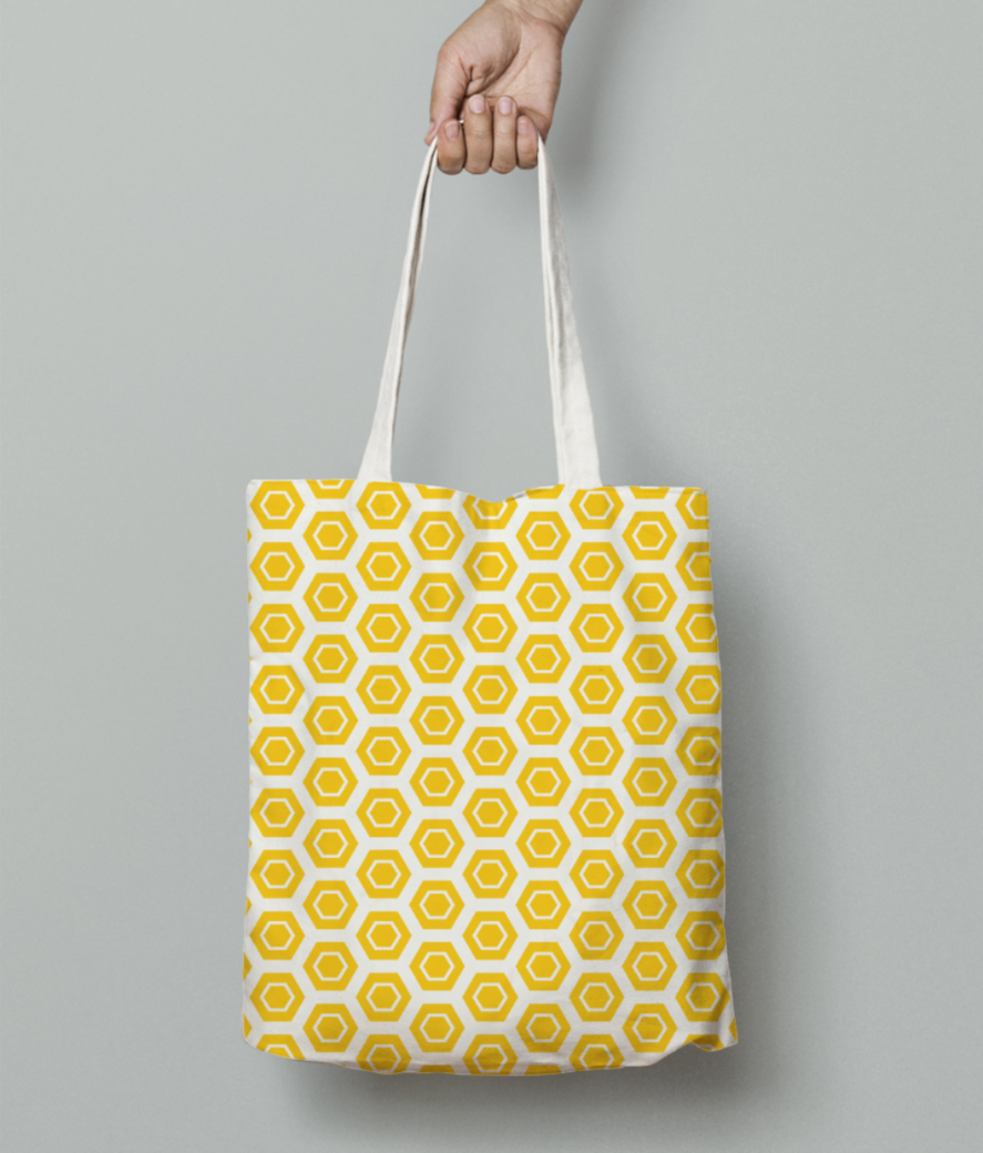 Yellow hexagon pattern tote bag front