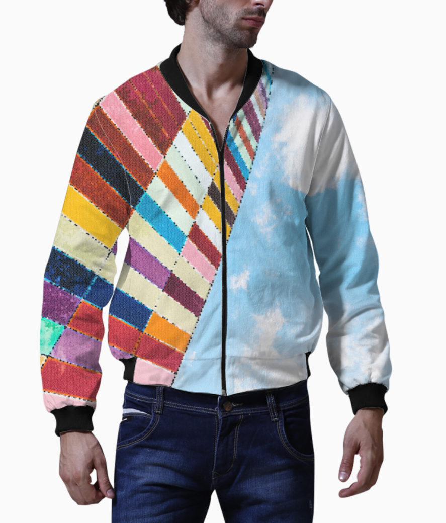 Color block sky bomber front
