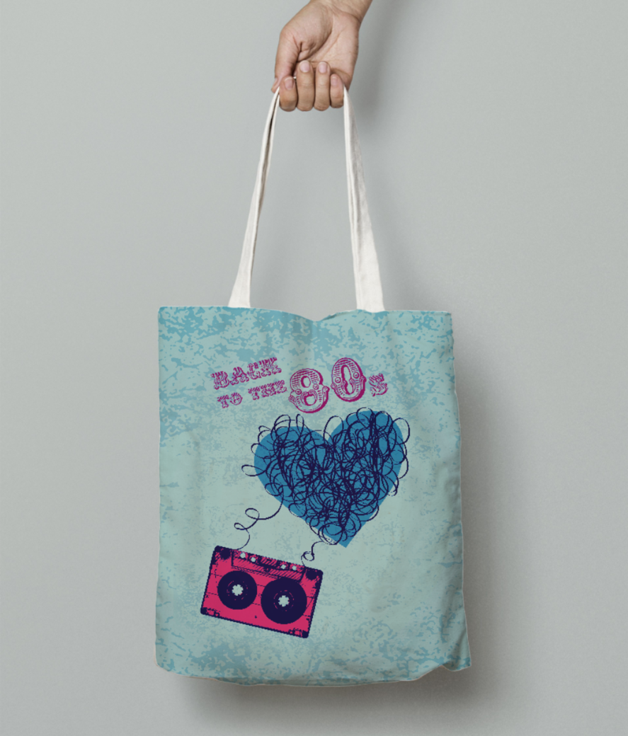 80s party bomber tote bag front