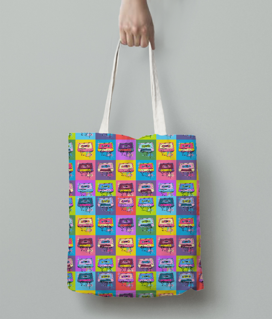 Psychedelic party tote bag back