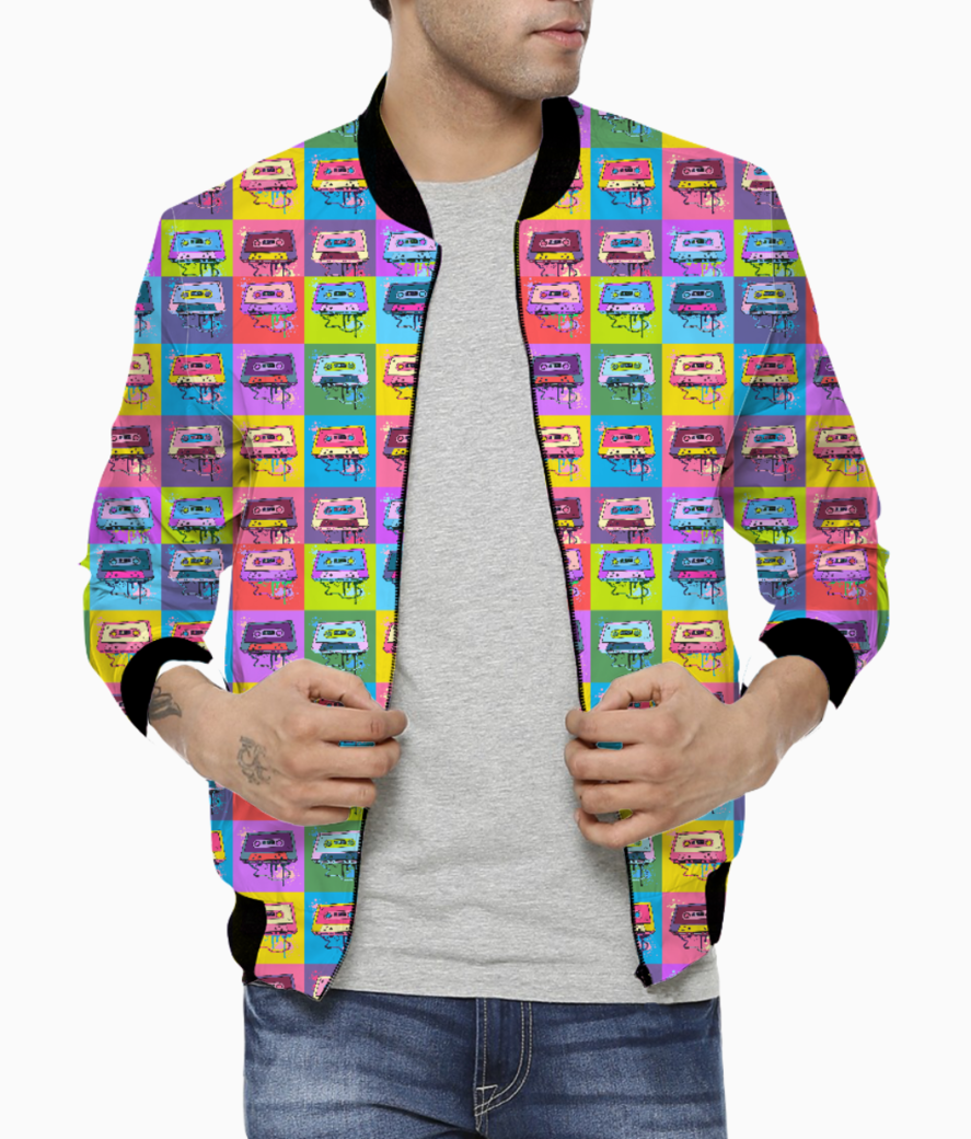 Psychedelic party small print bomber front