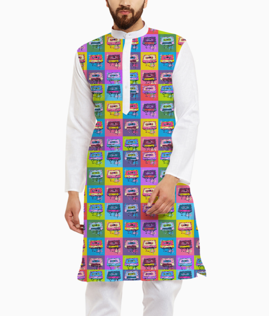 Psychedelic party small print kurta front